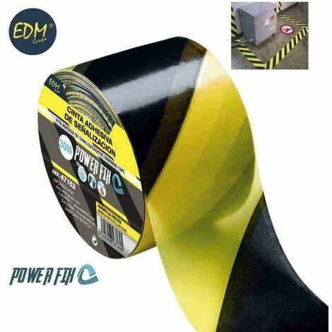 Cinta adhesiva de señalizacion amarillo-negra 30m x 50mm
