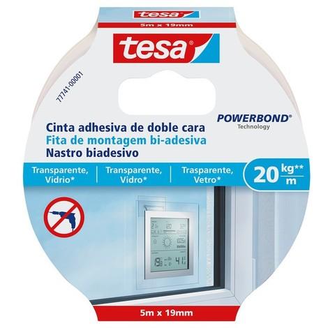 Cinta adhesiva doble cara Powerbond 1,5mx19mm 20kg/m vidrio TESA
