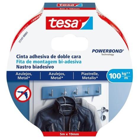 Cinta adhesiva doble cara Powerbond 5mx19mm 100kg/m azulejos TESA