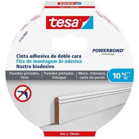 Cinta adhesiva doble cara Powerbond 5mx19mm pared TESA
