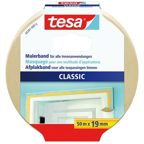 Cinta adhesivo de enmascaramiento classic 19mm x 50m (TESA 05281-12-3/ 05281-00012-03) (por 16)