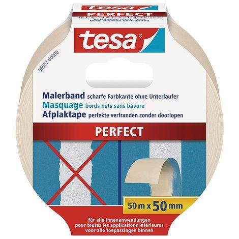 Cinta adhesivo de enmascaramiento para bordes filos 50m x 50mm - Tesa 56532 Perfect (por 6)
