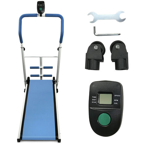 Cinta de correr mecánica, pantalla LED, equipo de ejercicios, bicicleta estática, trotar, carga máxima 100 kg, azul