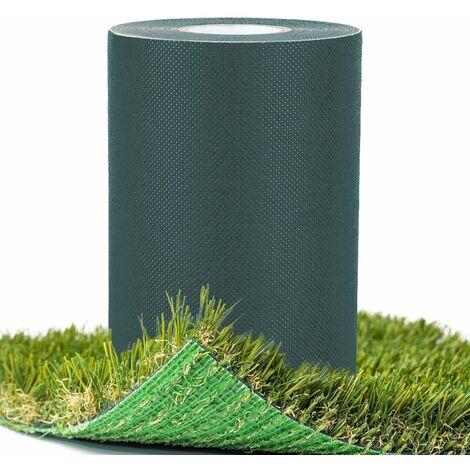 Cinta de coser de césped artificial de 15 cm x 10 m, cinta de unión autoadhesiva, costura de césped artificial de césped sintético verde