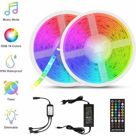 Cinta de música LED LITZEE, tiras de LED de 10M (5M * 2) 5050 RGB IP65 Tira de LED autoadhesiva de luz multicolor con decoración de control remoto