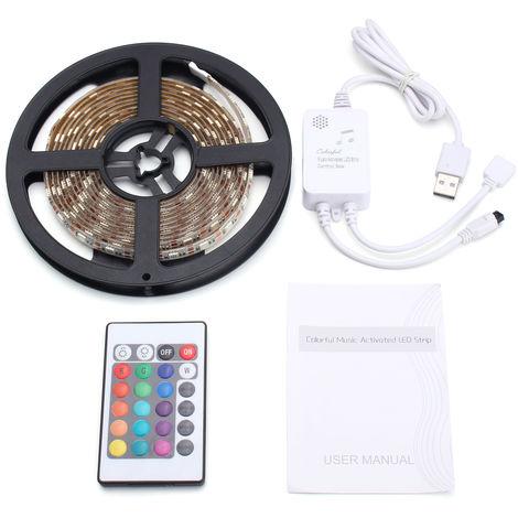 Cinta de música RGB impermeable tira led 5050smd flexible brillante + controlador USB + control remoto