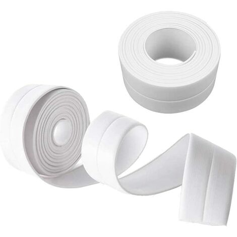 Cinta de sellado LangRay, cinta autoadhesiva, prevención de cucarachas de moho impermeable, para bañera / baño / esquina, etc., 38 mm * 3,2 m - blanco (paquete de 2)