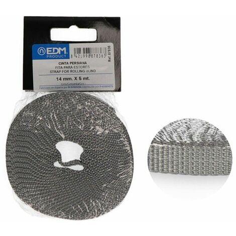 Cinta persiana mini 5mts gris 14mm EDM 87836