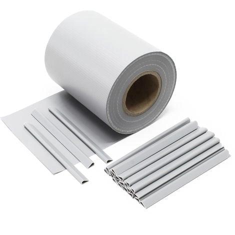 Cinta protección vallas, gris 35mx19cm, PVC 450g/m², con 20 clips Lámina privacidad