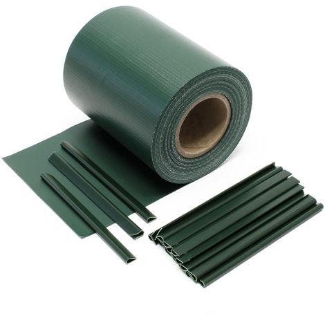 Cinta protección vallas, verde 35mx19cm, PVC 450g/m², con 20 clips Lámina privacidad