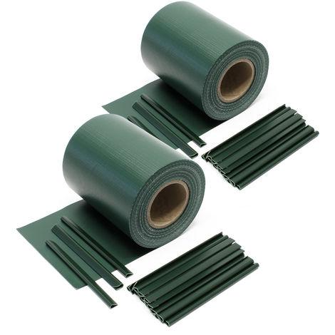 Cinta protección vallas, verde 70mx19cm, PVC 650g/m², con 40 clips Lámina privacidad