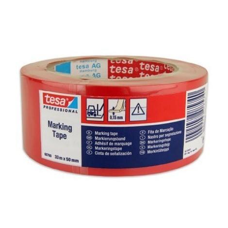 Cinta señalizacion adhesiva 33x50mm roja TESA