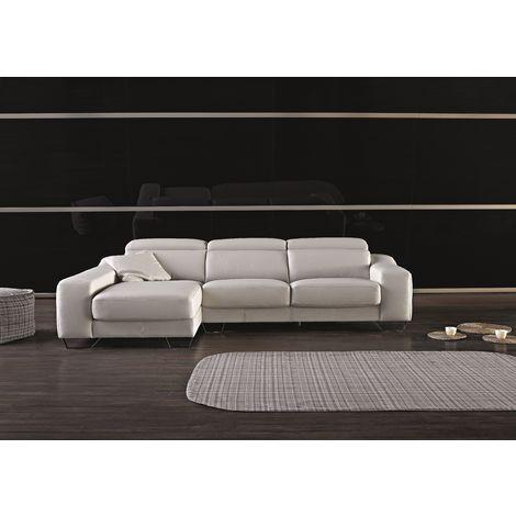 Cinthia Italian Reclining Leather Corner Group Sofa Blanco White