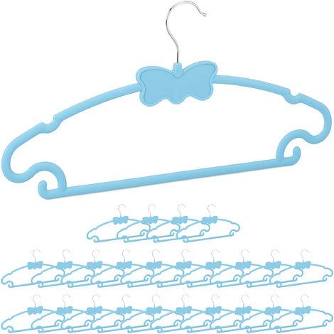Cintre enfant motifs, set de 25 cintres, motif papillon, plastique bleu armoire penderie, taille 122, bleu