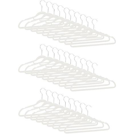 Cintres en set, Cintre pantalon, Chemise jupe, Porte-cravate, Cintre velours, Crochet rotatif, set 30, blanc