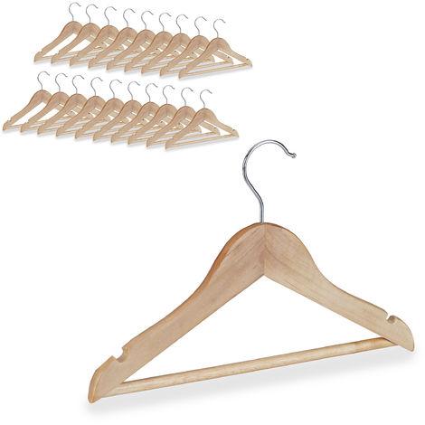 Cintres enfants en bois 20 cintre en bois vêtements bébé enfant traverse crochet 360 rotatif, nature
