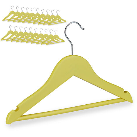 Cintres enfants en bois 20 cintre traverse crochet 360 vêtements bébé enfant, jaune