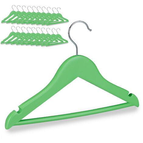 Cintres enfants en bois 20 cintre traverse crochet 360 vêtements bébé enfant, vert