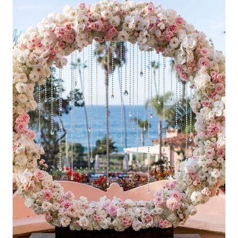 Circle Arch Round Metal Frame Wedding Party Backdrop Romantic Venue Decor 2m