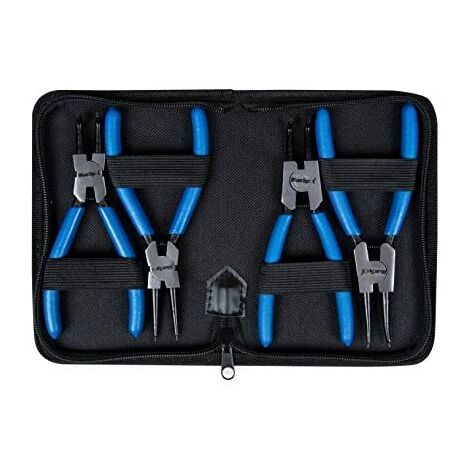"""Circlip Plier Set 4 Piece With Storage Wallet 6"""" Snap Ring Pilers Straight"""