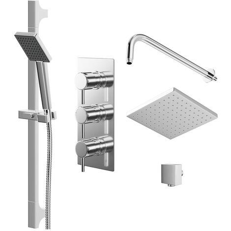 Circo Triple Thermostatic Valve Mixer Shower With Square Head & Severn Slide Rail Kit