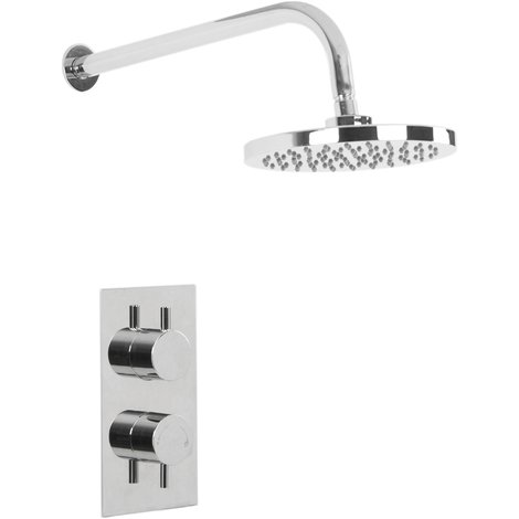 Circo Twin Thermostatic Valve With Round Shower Head & Wall Arm