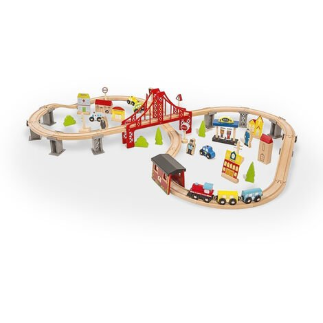 Circuit de train en bois jouet pour enfants 70 pièces Mr Ciuf