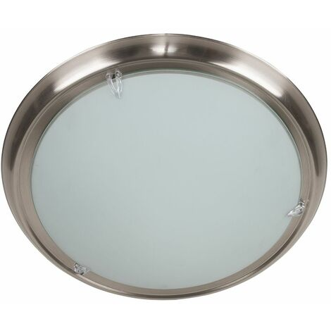 Circular Brushed Chrome Flush Ceiling Light + Frosted Shade