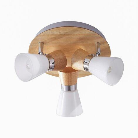 Circular ceiling spotlight Vivica, wooden elements