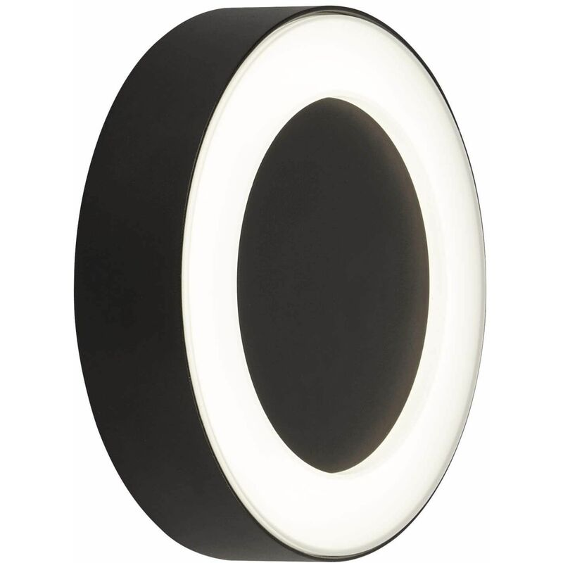 Image of 03-searchlight - Circular led outdoor wall light - black with frosted diffuser