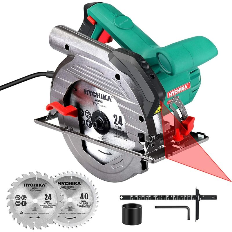 Image of Circular Saw, 1500W HYCHIKA Electric Saw with 6 Adjustable Speeds 2200-4700RPM, Laser, 24T/40T Blades(190mm), Max Cutting Depth: 90°: 65mm/45°: 45mm,