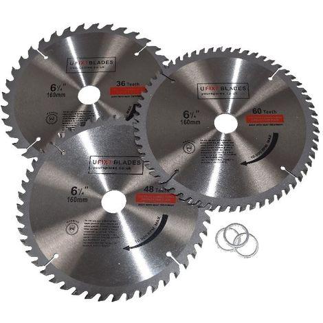 Circular Saw Blades 160mm x 20mm TCT 36 48 60 Tooth Triple Pack Fits Dewalt