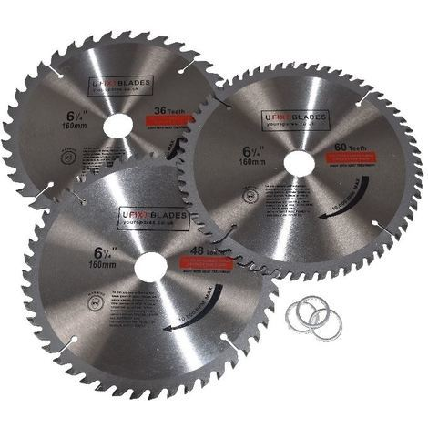 Circular Saw Blades 160mm x 20mm TCT 36 48 60 Tooth Triple Pack Fits Metabo