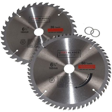 Circular Saw Blades 160mm x 20mm TCT Tungsten Carbide Teeth 36 and 60 Tooth Twin Pack