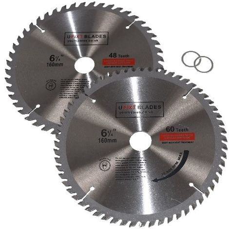 Circular Saw Blades 160mm x 20mm TCT Tungsten Carbide Teeth 48 and 60 Tooth Twin Pack