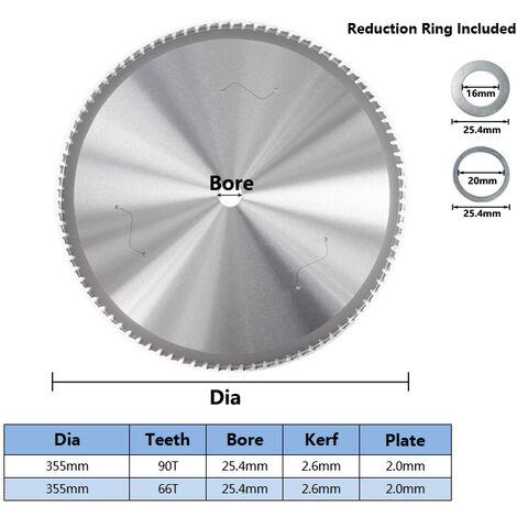 "main image of ""Circular Saw Blades Hacksaw Blade TCT Circular Saw Blades Circular Saw Blades for Cutting Aluminum Iron Nano Steel, 355 * 2.6 * 2.0 * 25.4 * 66t"""