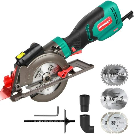 """main image of """"Circular Saw, HYCHIKA 750W 3500RPM Mini Circular Saw with Laser Guide & Parallel, 6 Blades, Cutting Depth 0-48mm, Compact Circular Saw for Cutting Wood, PVC Pipe, Plastic, Soft Metal"""""""