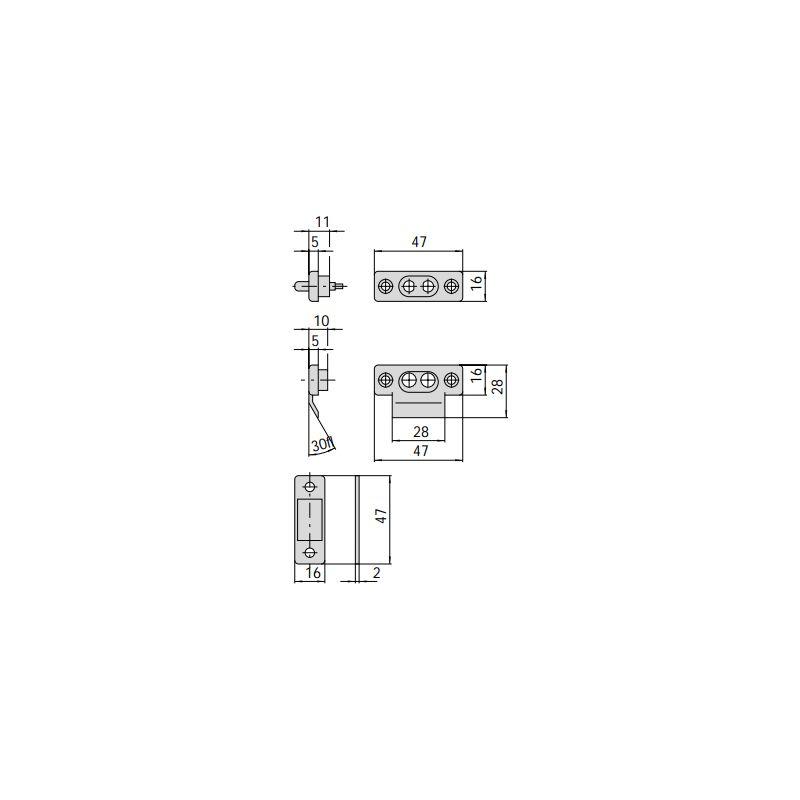 CISA 06510 COPPIA CONTATTI ELETTRICI IN NYLON CON SPESSORI PER ELETTROSERRATURE
