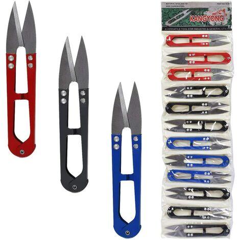 Ciseaux de Couture Bricolage Découseurs Colorés avec Couteau Inoxydable, Ciseau de Fil 4pcs par Chaque Couleur Rouge Noir et Bleue, Lot de 12