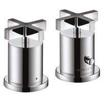 Citterio Set de finition pour thermostatique 2 trous pour montage sur bord de baignoire poignées croisillons chromé