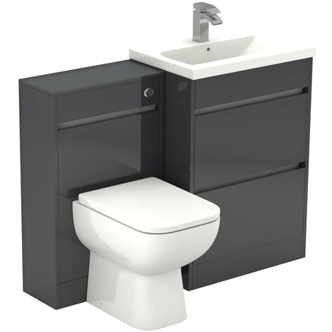 """main image of """"City Gloss Grey 1100mm 2 Drawer Vanity Unit Toilet Suite"""""""