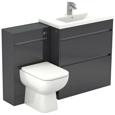City Grey Gloss 1300mm 2 Drawer Vanity Unit Toilet Suite