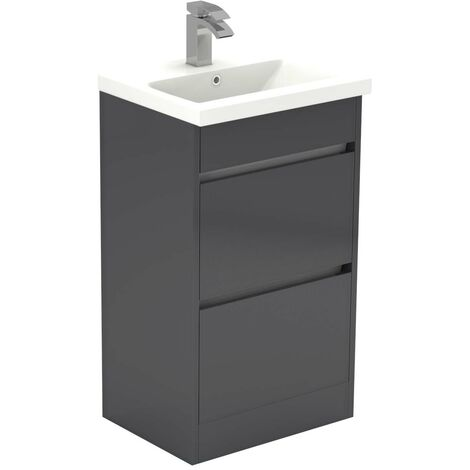 City Grey Gloss 500mm 2 Drawer Vanity Unit Including Basin