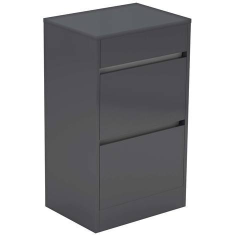 City Grey Gloss 500mm 2 Drawer Vanity Unit With Top