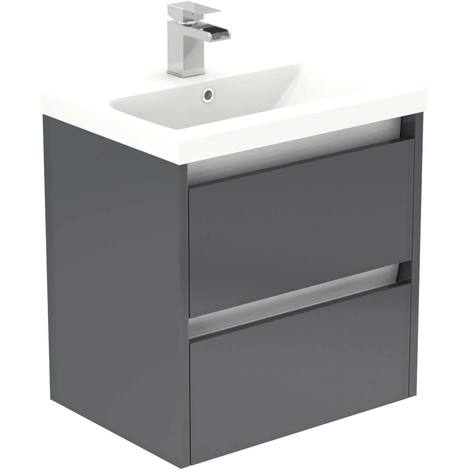City Grey Gloss 500mm Wall Mounted 2 Drawer Vanity Unit Including Basin