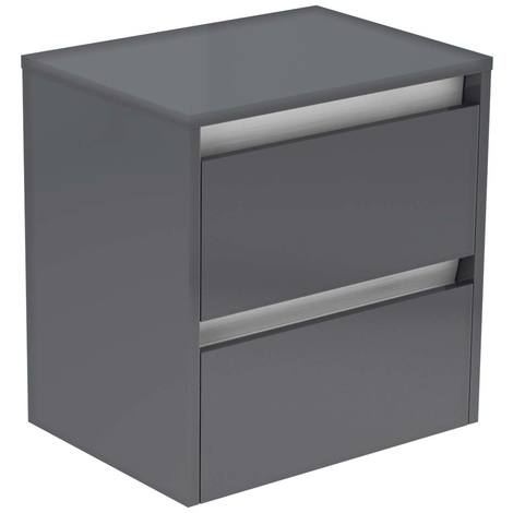 City Grey Gloss 500mm Wall Mounted 2 Drawer Vanity Unit With Top