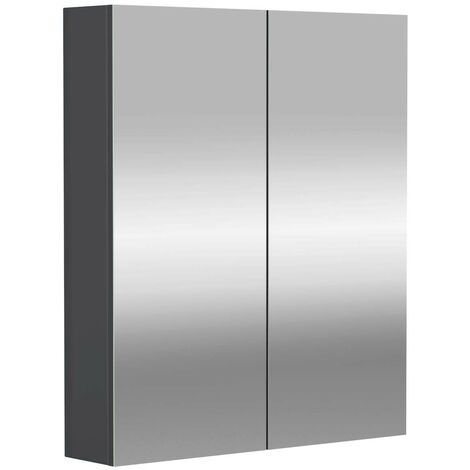 City Grey Gloss 600mm Mirror Wall Cabinet