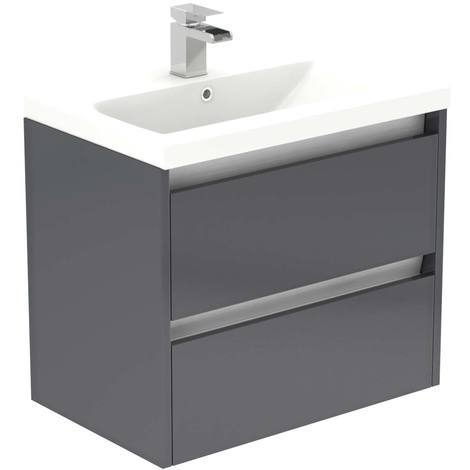 City Grey Gloss 600mm Wall Mounted 2 Drawer Vanity Unit Including Basin