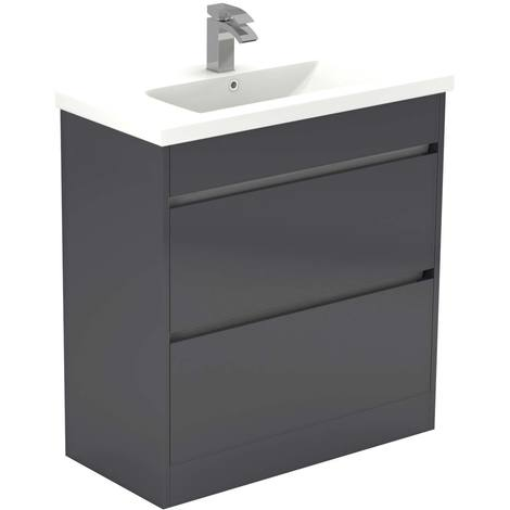 City Grey Gloss 800mm 2 Drawer Vanity Unit Including Basin