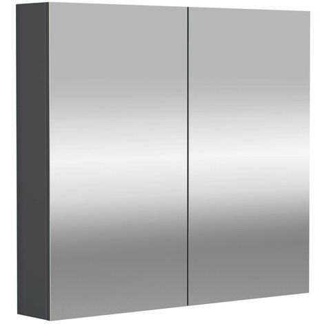 City Grey Gloss 800mm Mirror Wall Cabinet